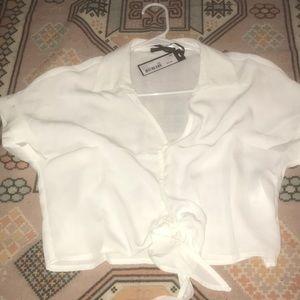 XS cropped white blouse